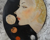Vintage FAB Retro Wood Hand Painted Woman's Face Artist Paint Board SHABBY