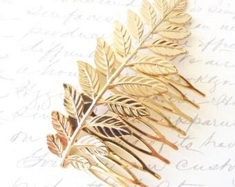Gold Plated Leaf Branch Hair Comb - Golden Leaf  Branch Hair Comb - Bridal Leaf Branch Hair Comb - Large Leaf Branch - Large Gold Leaf