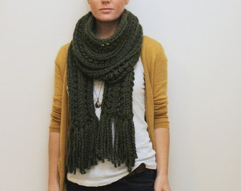 KNITTING PATTERN // Elliston Scarf // super bulky eyelet rib scarf PDF