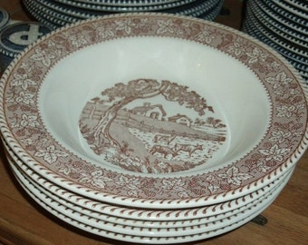 1960s Brown and White Currier & Ives- 8 in Soup Bowl