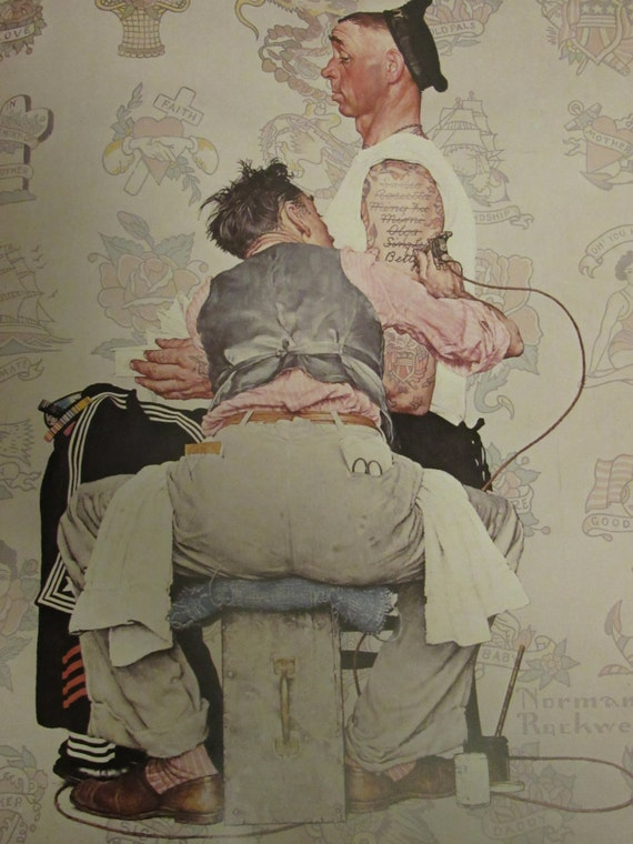The tattooist norman rockwell post cover print march 4 for Norman rockwell tattoo