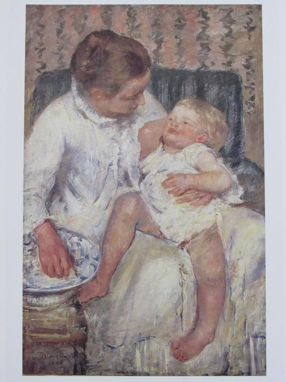mary cassattthe childs bath 1880 color plate book