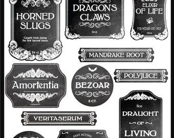 Wizard Potion and Halloween Chalkboard Apothecary Printable Frames and Labels for Personal and Commercial Use