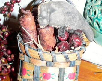 Primitive Hand Made Basket with Candles and Crow   HAFAIR