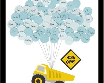 Baby Shower Guestbook -Dump Truck Construction print