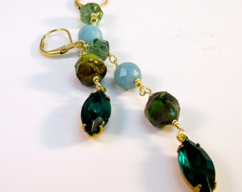 Mixed Glass Drop Earrings