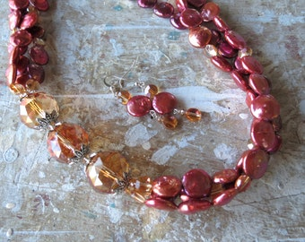 Large Asymmetric Orange Iridescent Crystals with Deep Coral Coin Pearls Necklace and Earrings