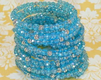 6 Iridescent Turquoise Crystal Bracelet Set Faceted Fire Polish Silver Bead Memory Wire Stocking Stuffer Party Favor Bulk Beaded  Bangles