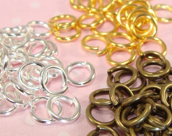 100 Jump Rings 33+ EACH Silver Gold Bronze 6mm Strong 18 Gauge Bulk Findings Jewelry Making Supplies Great for Hanging Charms & Pendants