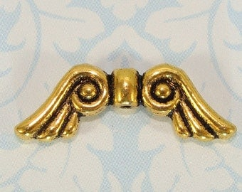 16 Angel Wing Beads Charms GOLD Plated Large Scrolled 21mm (41101) Fairy Butterfly Wings Add Teardrop & Halo Jewelry Supplies Bulk Beads