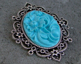 Prudence Resin Cameo Brooch Pendant Blue Green