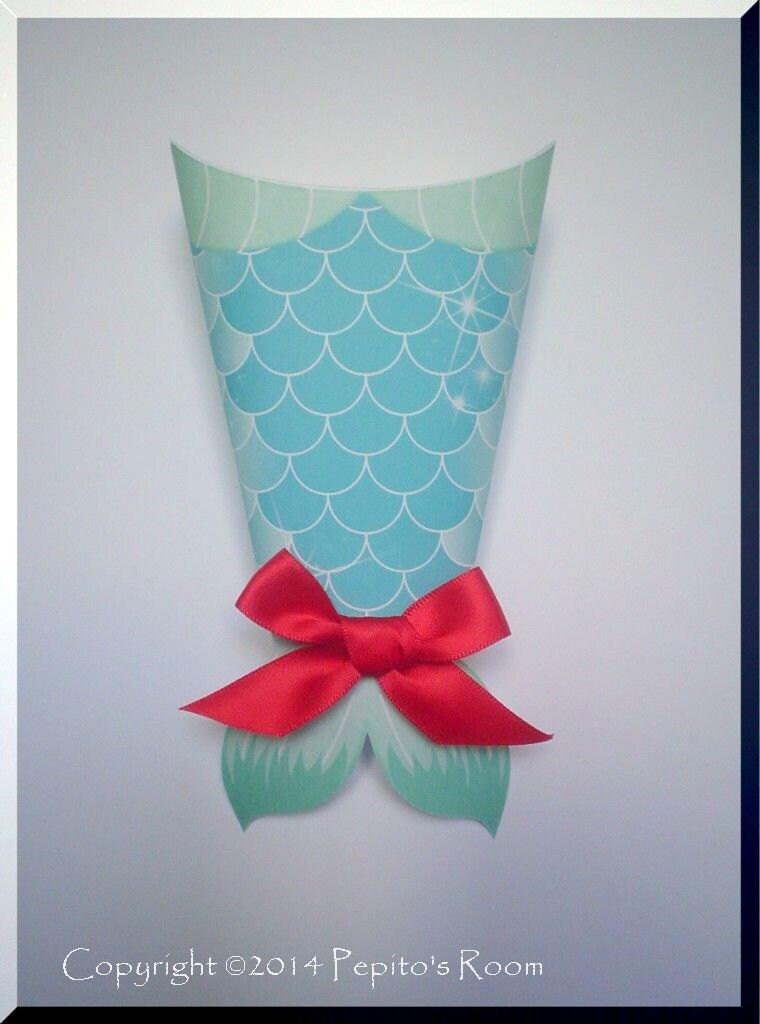 under the sea party favor mermaid tail box editable diy