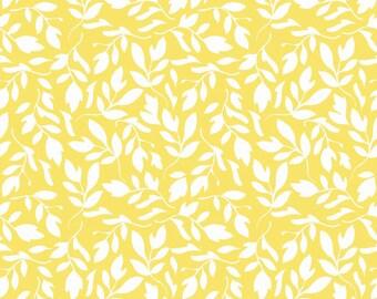 Yellow Vine Fabric, Yellow leaf Fabric 1.5 yards.