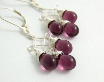 Earrings with Purple Glass Teardrops on Twist Designs CE-233