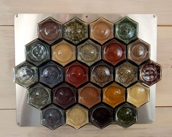 Gneiss Spice DIY Large Magnetic Spice Rack for Wall: 24 Empty Glass Jars (4 oz), Unlabeled Lids, Clear Spice Labels & Wall Plate.
