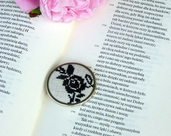 cross stitch hand embroidered brooch with black rose