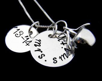 Back to School Gift for Teacher, Personalized Teacher Sterling Silver Necklace, New Teacher Gift, Custom Hand Stamped