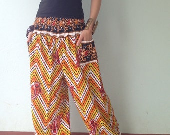 Harem Pant with Exotic Printed in yellow
