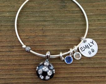 Adjustable rhinestone Soccer bangle bracelet.  Custom name, color and hand stamped name