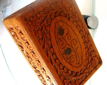 Vintage Wood Box Carved Wooden Box Leaves Flowers Hinged