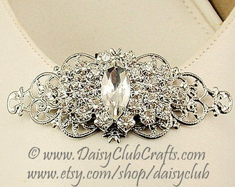 Rhinestones Shoe Clips, Bridal Shoe Clips, Weddings, Made in USA in our own studio