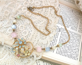 spring assemblage necklace pastel upcycled vintage jewelry floral flower glass beads cottage chic