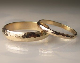 Gold Wedding Band Set - Recycled 14k Yellow Gold - 4mm and 2mm Hammered Half Round