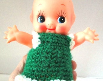 REDUCED Vintage Kewpie Doll, Red Head Ginger, Naked Baby, Large Cupid Cupie Hand Knit Dress, Baby Shower Package Decoration, Green, Nursery