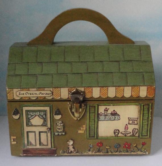 Vintage Folk Art Wooden House Handbag. Ice cream Parlor. Hand made.