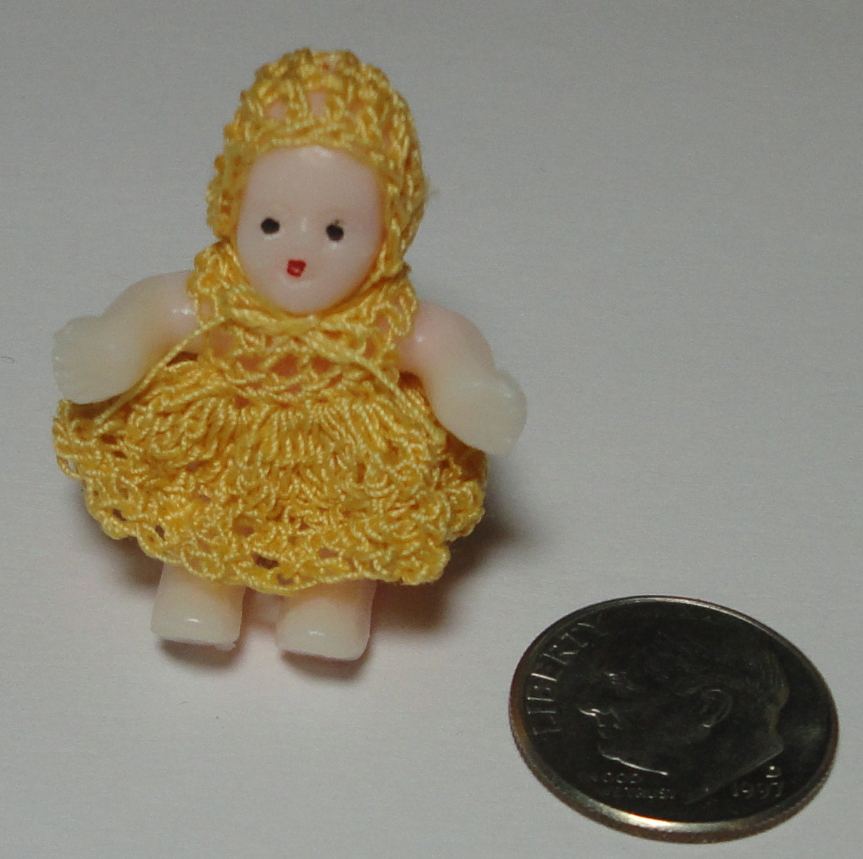 Vintage Miniature Doll with Crochet Dress and Hat. Doll