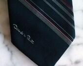 Vintage Oscar de la Renta Strip Navy Tie Signed