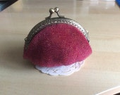 Vintage Rose Red Crochet Beaded Coin Purse, Metal frame, coin purse frame, Japanese bead