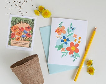 Blue & Orange Flowers, Set of FOUR Floral Folded Note Cards, Stationery, Hand Drawn, Illustration, Flowers, Flora, Notecards