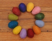 Felted Easter Eggs, You pick the Colors, Set of 12 Large Needle Felted Wool Eggs