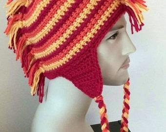 CROCHET PATTERN PDF - Fire Hawk Earflap Mohawk Crocheted Beanie hat - Unisex, Men, Women, Ski Cap,  Novelty Hat, Geekery, Teen hat, knitted