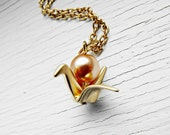Gold Paper Crane Origami Necklace with Bronze Pearl