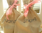 Gift bag Personalized / Girls Gift  Drawstring Linen cotton bag /  Anniversary Gift / Bridesmaids Party Favors  Bridal Gift Goodie bags