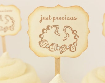Baby Bracelet Cupcake Topper Baby Shower Its a Girl Set of 12