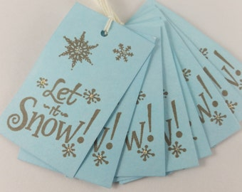 Christmas in July SALE Christmas Gift Tags Snowflakes Let it Snow Set of 18