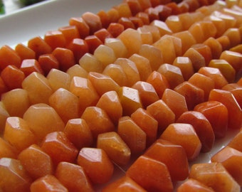 Red Aventurine Rough Hand Faceted Rondelle Beads 4-7mm by 8-11mm 5 inches (12.5cm)