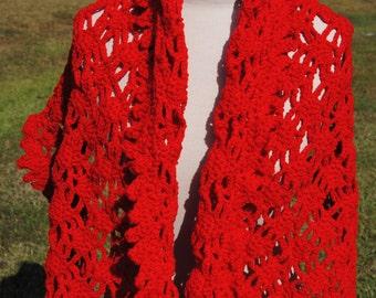 Red Rectangle Shawl, Crochet Red Shawl, Prayer Shawl
