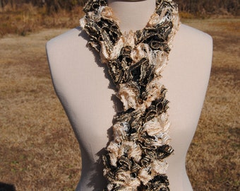 Black and White Ruffle Scarf with Gold Accents, Black Ruffle Scarf, White Ruffle Scarf, Golden Ruffle Scarf