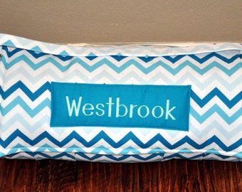 Nap Mat - Monogrammed Turquoise Shaded Chevron Nap Mat with a Minky Dot Blanket