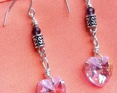Pink Crystal Heart dangle earrings,Tibetan Silver barrel beads, Purple glass faceted beads, RedRobinArt