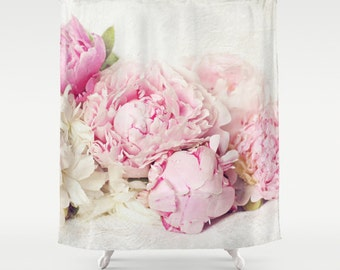 Pink peony Shower Curtain,bathroom,home decor,pastel flowers,nature,floral shower curtain,shabby chic