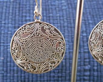 Balinese Granulation art.  Sterling Silver dangle Earrings / 1.75 inch long / silver 925 / Balinese handmade jewelry / (#524m)