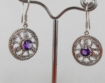 Balinese Sterling Silver Amethyst gemstones Earrings / 1.45 inch long / silver 925 / Bali handmade granulation art jewelry / (#131K)