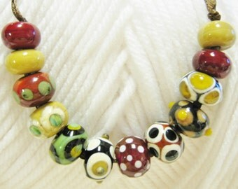 Handmade Lampwork Beads in Earth Tone Colors of Chestnut, Stone Ground, Ivory, Pea Green and Black- Set 2