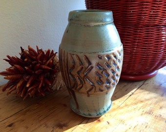 Pottery Vase -  Blue Green Rustic Textured