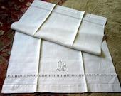 Vintage Antique Kitchen Bath Embroidered Towel Huck Monogram Linen Damask Lace